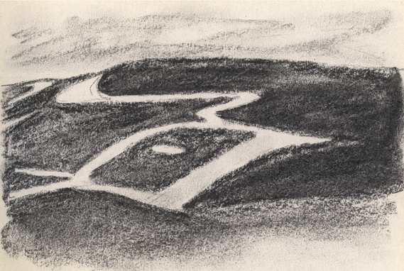 Charcoal sketch of Uffington White Horse