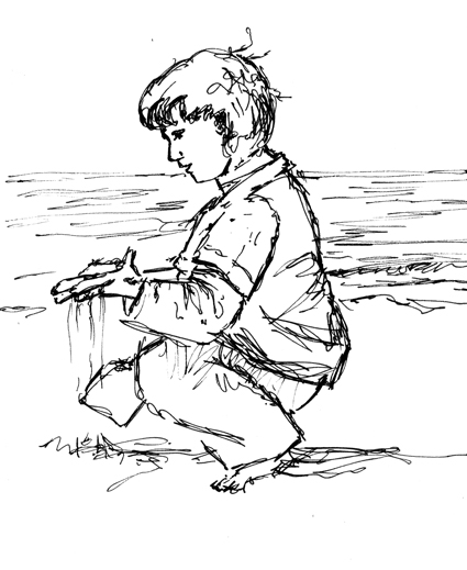 Pen sketch of a boy on the beach, letting the sand run through his fingers.