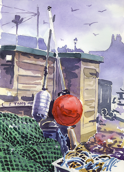 Watercolour sketch of Budleigh Fishing Gear on the beach.