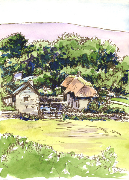Pen and watercolour sketch of a Dartmoor Farm