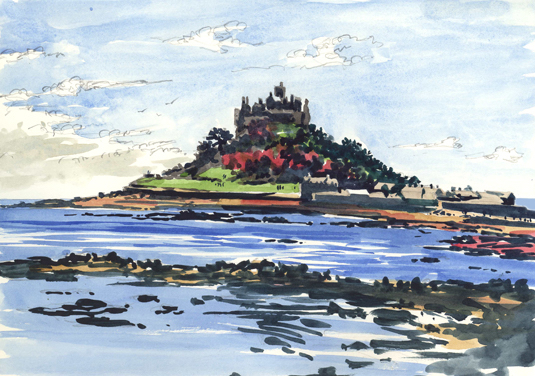 Watercolour sketch of a Blustery St Michael's Mount