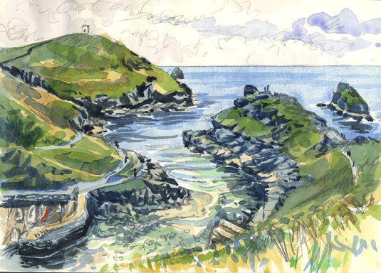 'Backpacking & sketching along the Cornish coast'