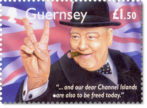 Guernsey ~ Churhill Stamp for their Memories of World War 2 series.