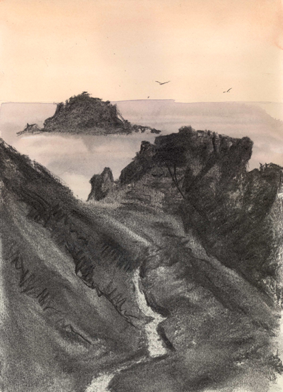 Charcoal sketch of a Cornish Winding Path