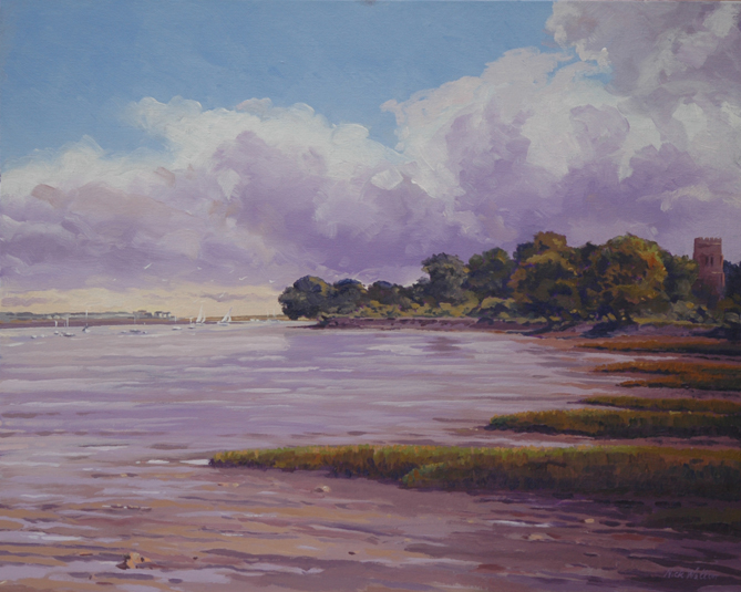 Oil painting looking down the western side of the Exe Estuary. With Powderham Church Tower sticking out of the trees.