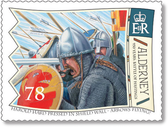 Stamp for Alderney with King Harold hard pressed in the shield wall at the Battle of Hastings.