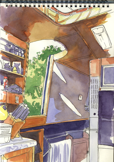 Watercolour and pen sketch, 'Inside the narrowboat Rowan'