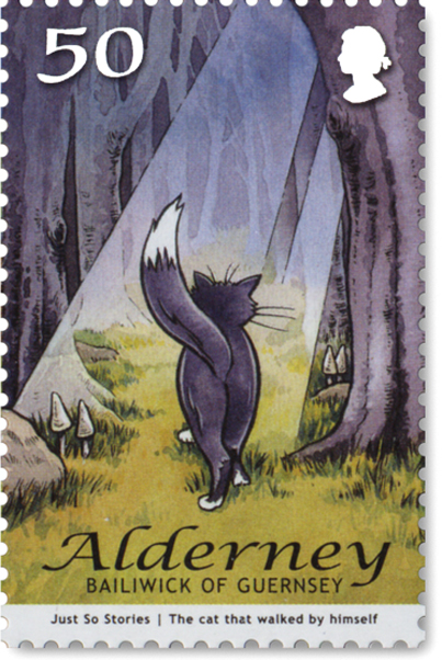 Image of an Alderney stamp, showing a cat walking away from you through thick woods. Illustrating the 'Just So Story' the Cat that walked by himself.
