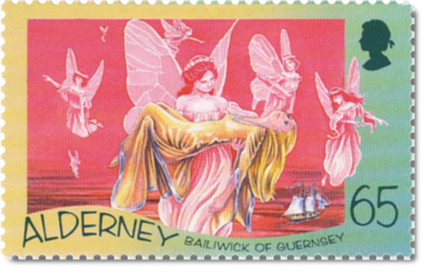 Alderney postage stamp showing the 'Little Mermaid' being lifted up by the spirits of the air.