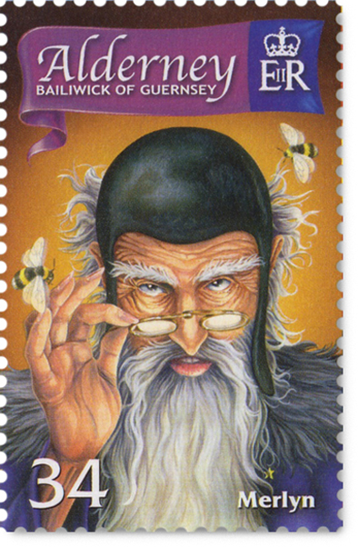34p Alderney postage stamp with the wizard Merlyn looking over his spectacles at you. With bees buzzing around his head.