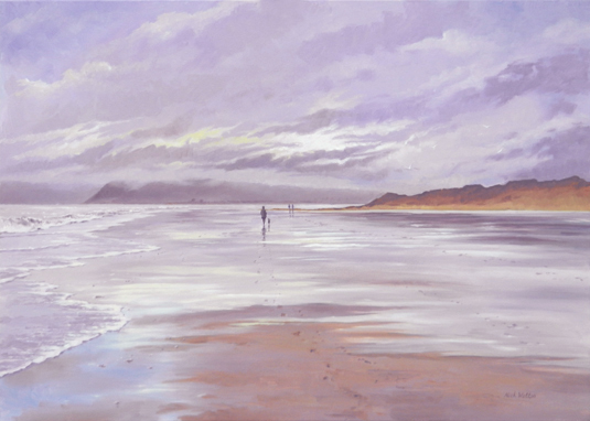 Oil painting of a lonely beach with the tide ebbing out, with a figure walking in the middle distance.