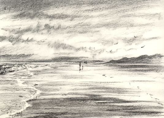 Charcoal sketch - Reflections at Exmouth Beach