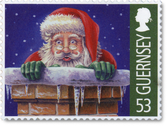 Guernsey postage stamp showing Santa's head sticking out of chimney.