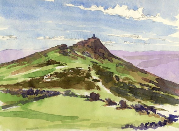 Watercolour sketch of Sharp Tor