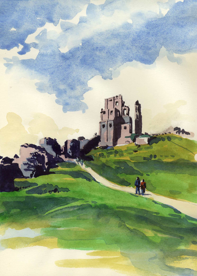 'Sketching around Corfe Castle'