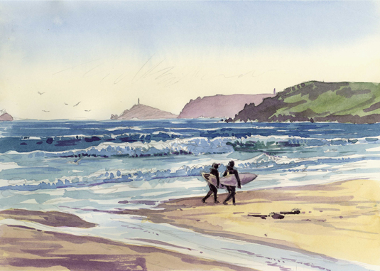 Watercolour of Surfers at Sennen