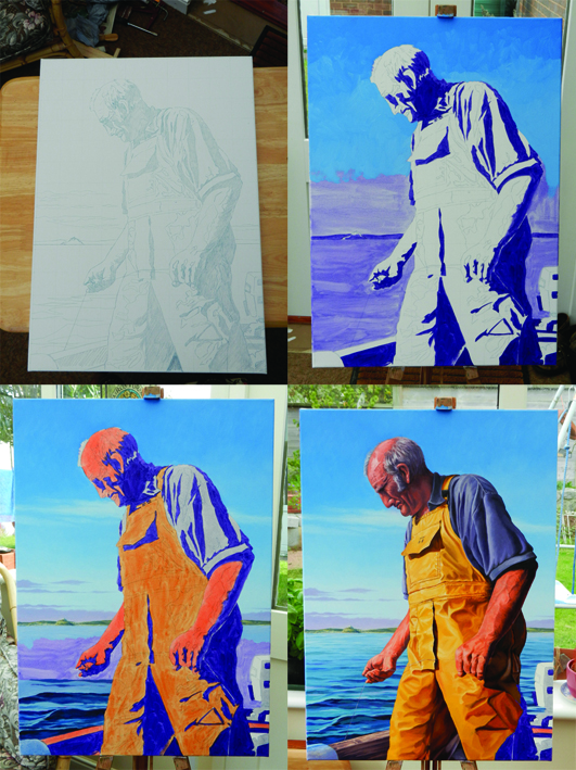 Four stages of my oil painting portrait of Bill or Jigging for Mackerel.