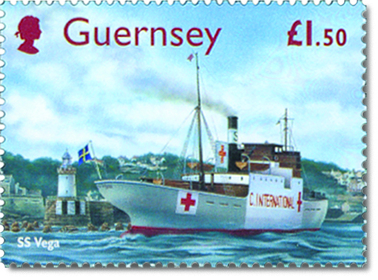 Guernsey Postage stamp with an illustration of the SS Vega arriving into St Peters Port.