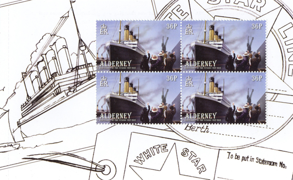 Page from the Titanic Prestige Booklet with four postage stamps on it and a pencil drawing in the background.