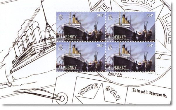 Alderney's Titanic Booklet Page of stamps