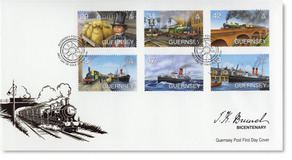 Guernsey's Brunel Stamps & First Day Cover