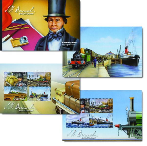 Various illustrated scenes from Guernsey postage stamps - Brunel Prestige Booklet
