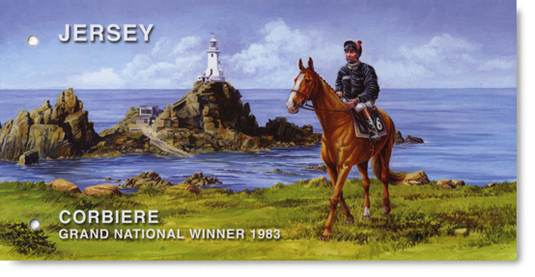 Jersey's Postage Stamp Presentation Pack with illustration of Corbière and jockey, Ben de Haan.