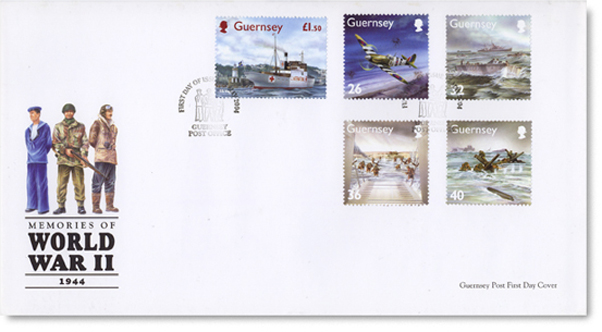 Guernsey first day cover, with five postage stamps depicting D Day & the SS Vega