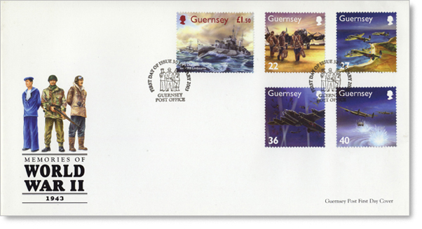 First day cover with five Guernsey stamps, depicting the Dambusters & HMS Charybdis.