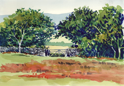 Watercolour sketch of a gateway at Hunters Tor, Dartmoor