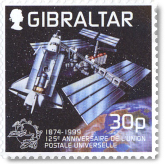 Gibraltar postage stamp with an artist impression of the Space Shuttle delivering mail to the International Space Station.