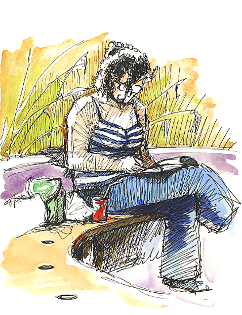 Pen & wash sketch of a girl waiting on a bench.