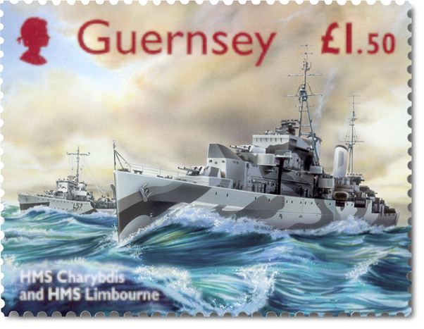 Guernsey postage stamp with an illustration of HMS Charybdis & HMS Limbourne surging through the waves.