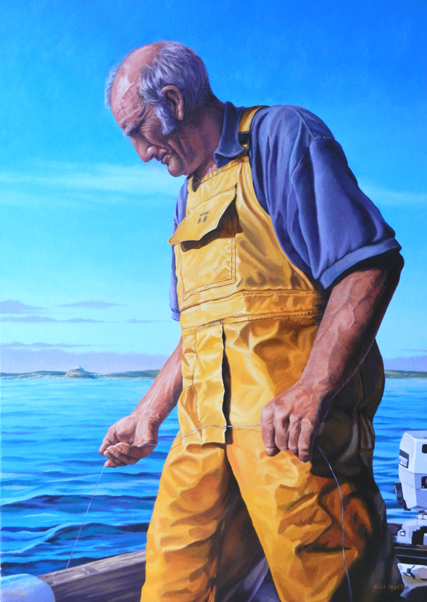 Oil painting portrait of a fisherman standing in his small boat.