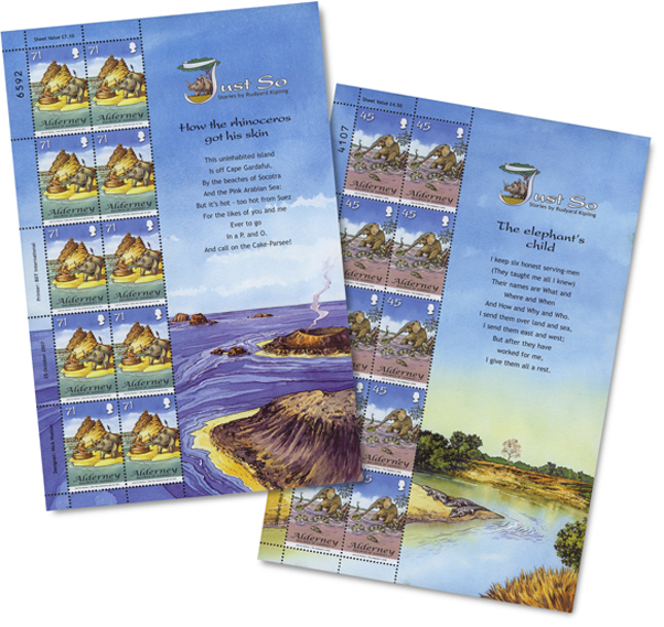 Alderney's Stamp Sheets for the 'Just So Stories'