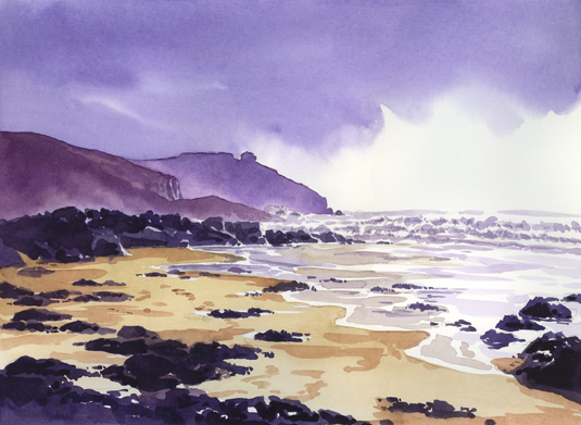 Watercolour painting of Lesceave Cove and Rinsey Head