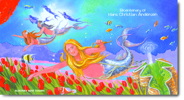 Watercolour illustration of the Little Mermaid swimming in the sea.
