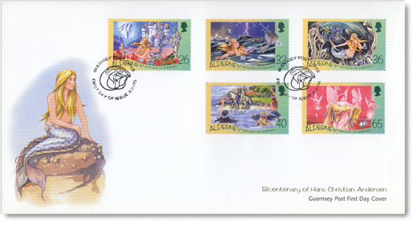 Alderney First Day Cover with five Little Mermaid postage stamps
