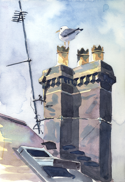 Watercolour sketch of a Gull on a Budleigh Rooftop