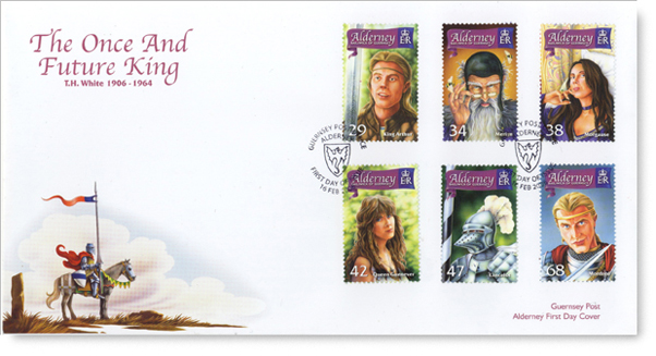 First day cover of Alderney's Once & Future King stamps