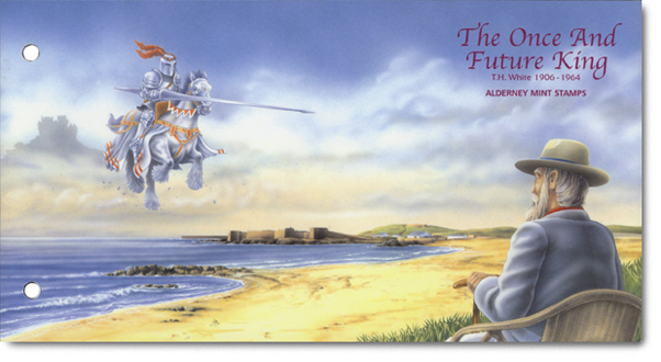 Once & Future King Presentation Pack cover, with White sat looking over Alderney imagining King Arthur.
