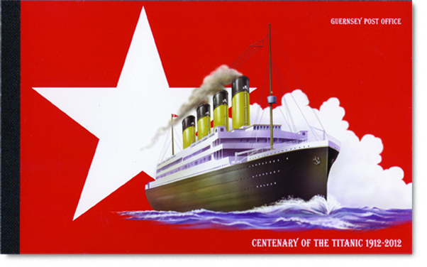 Cover of the Prestige Booklet with an illustration of the White Star logo and the Titanic.