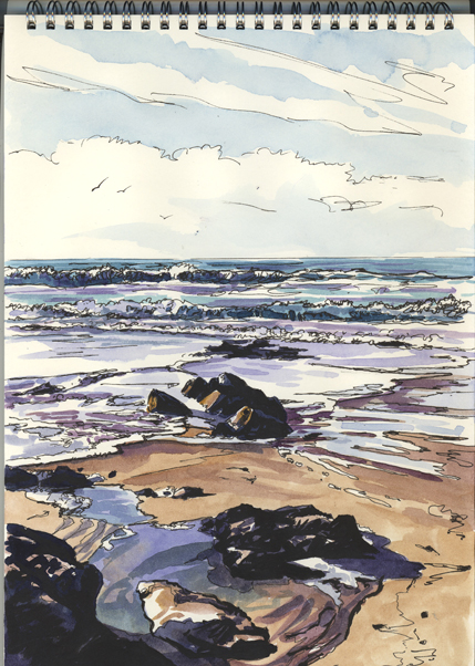 Watercolour and pen drawing of the tide swirling around rocks on Praa Sands beach.
