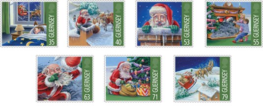 Guernsey's When Santa got stuck up the chimney postage stamps 2013
