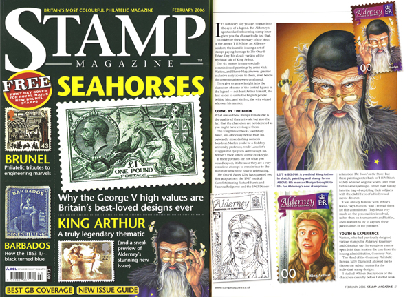 Stamp Magazine Feb 2006 featuring the Once & Future King postage stamps.