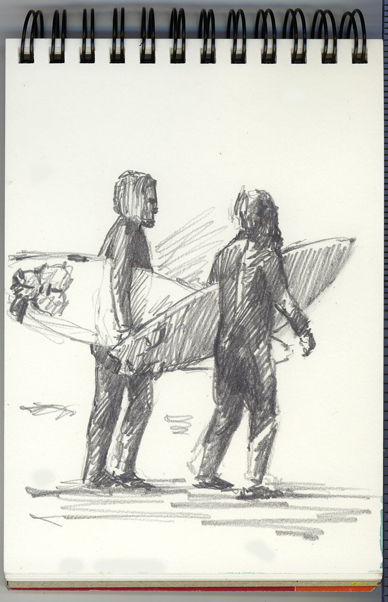 Pencil sketch of Surfers at Praa Sands