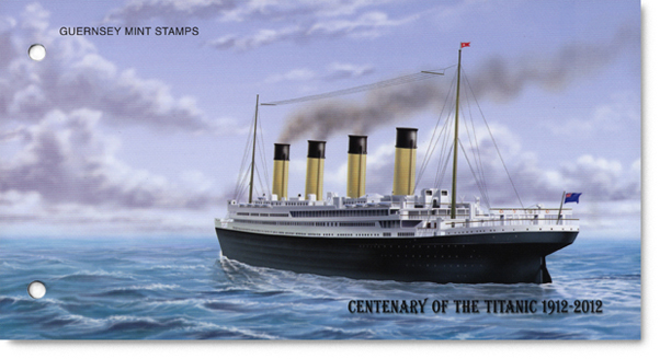 Presentation pack cover for the Alderney Titanic with a illustration of the Titanic sailing away.