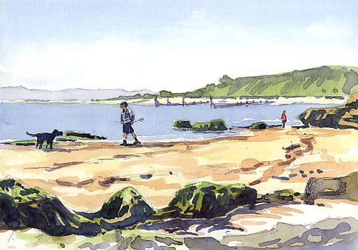 Watercolour sketch, 'Across from Orcombe Point, Exmouth'