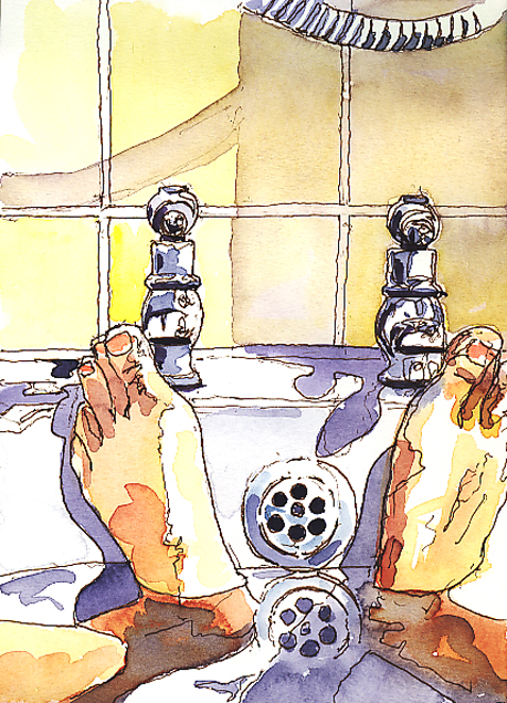 Watercolour and pen sketch of a Bathtub View