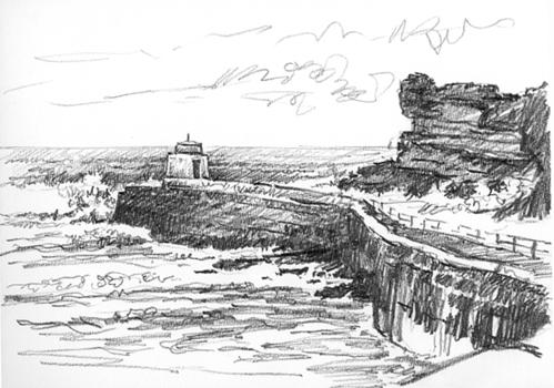 Pencil sketch of a 'Big Sea at Portreath'.